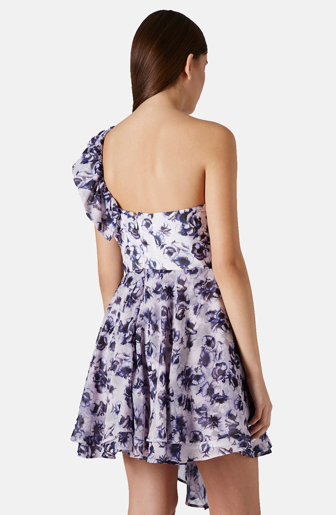 Alternate Image 2  - Topshop One-Shoulder Floral Chiffon Dress