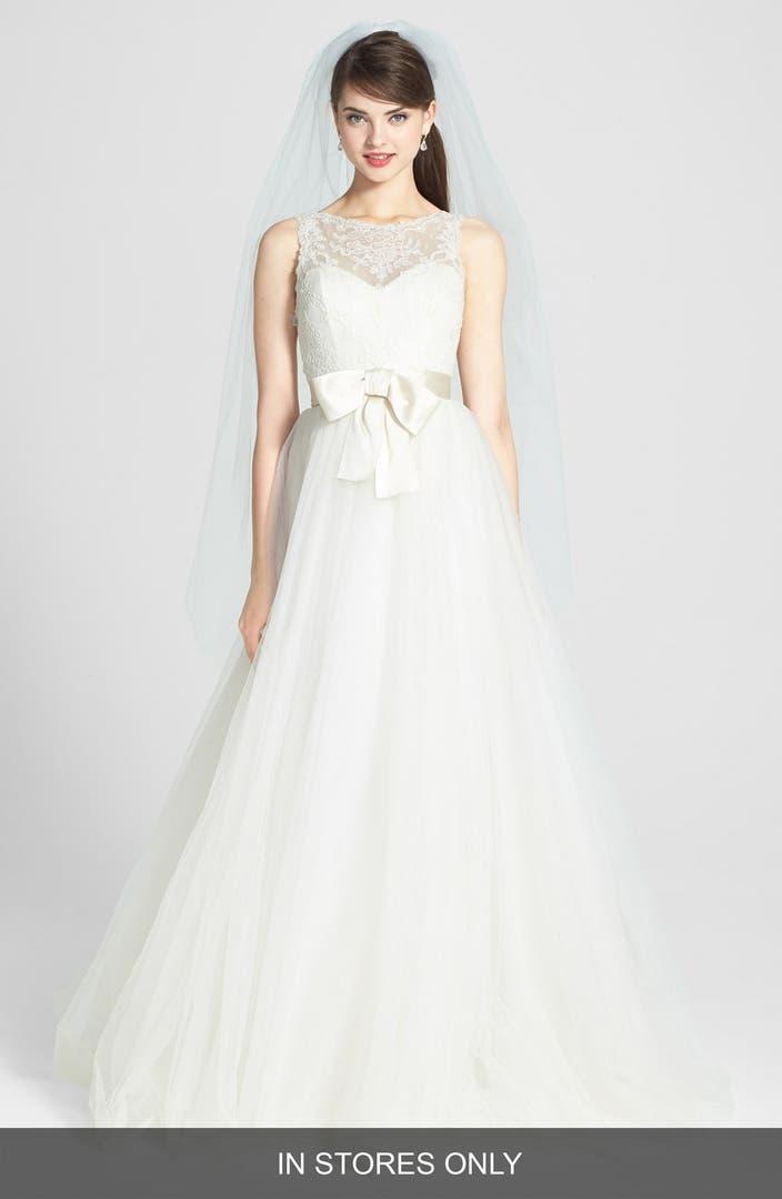 Wedding Dresses With Illusion Bodice : Amsale quinn french lace illusion bodice tulle wedding