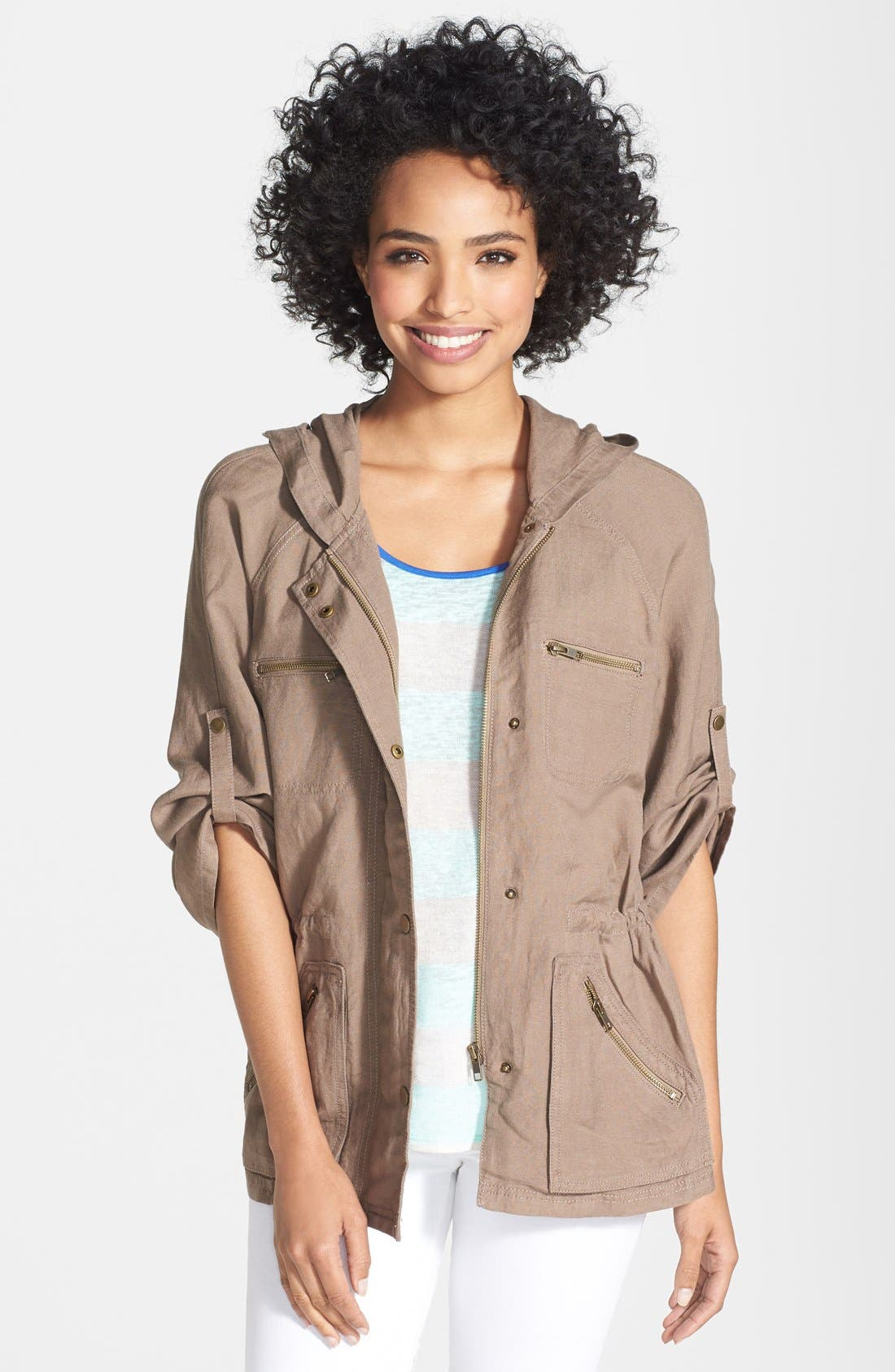 Alternate Image 1 Selected - Caslon® Linen Blend Hooded Jacket