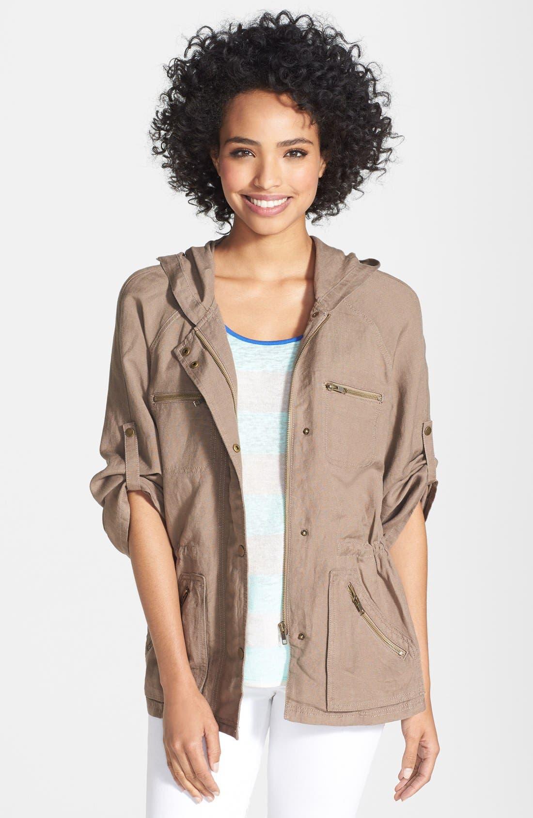 Main Image - Caslon® Linen Blend Hooded Jacket