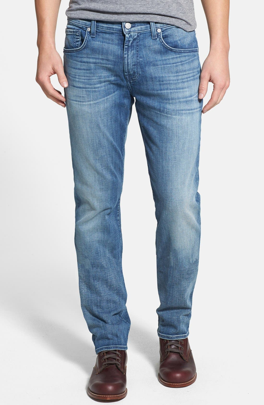 Main Image - 7 For All Mankind® 'The Straight - Luxe Performance' Tapered Straight Leg Jeans (Capri Breeze)