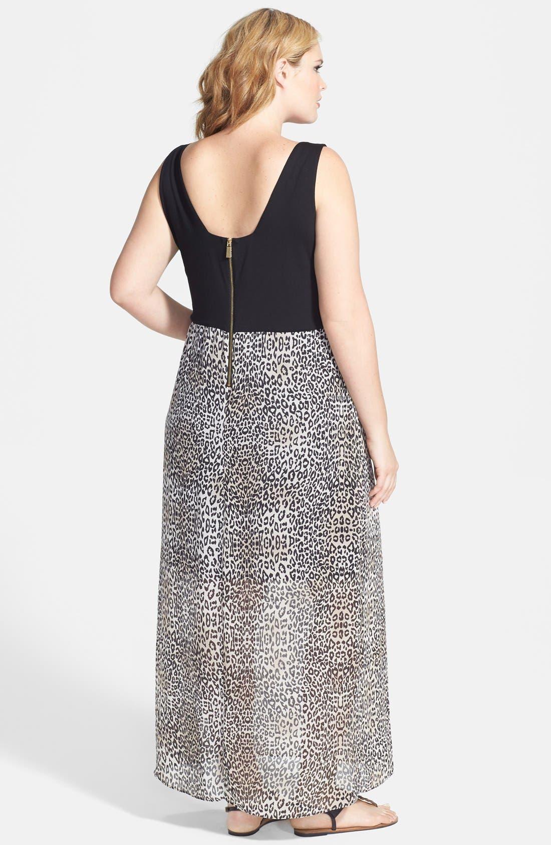 Alternate Image 2  - Vince Camuto 'Desert Leopard' Chiffon Overlay Maxi Dress (Plus Size)