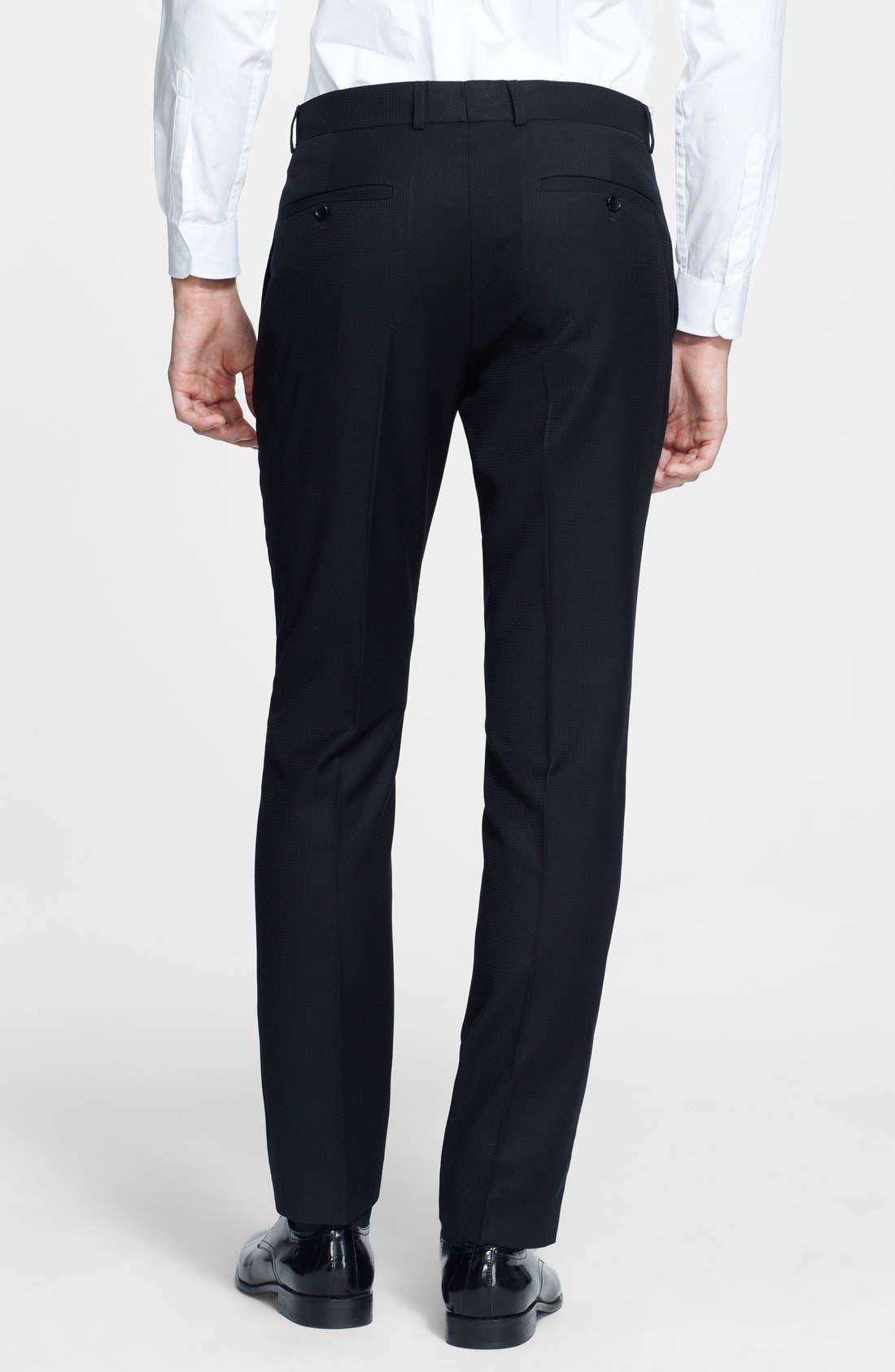 Alternate Image 2  - Topman Skinny Fit Jacquard Tuxedo Trousers