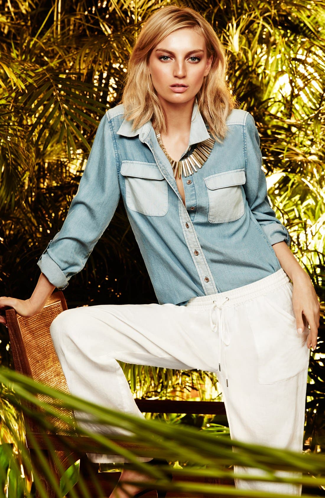 Alternate Image 4  - Two by Vince Camuto Two-Tone Denim Utility Shirt