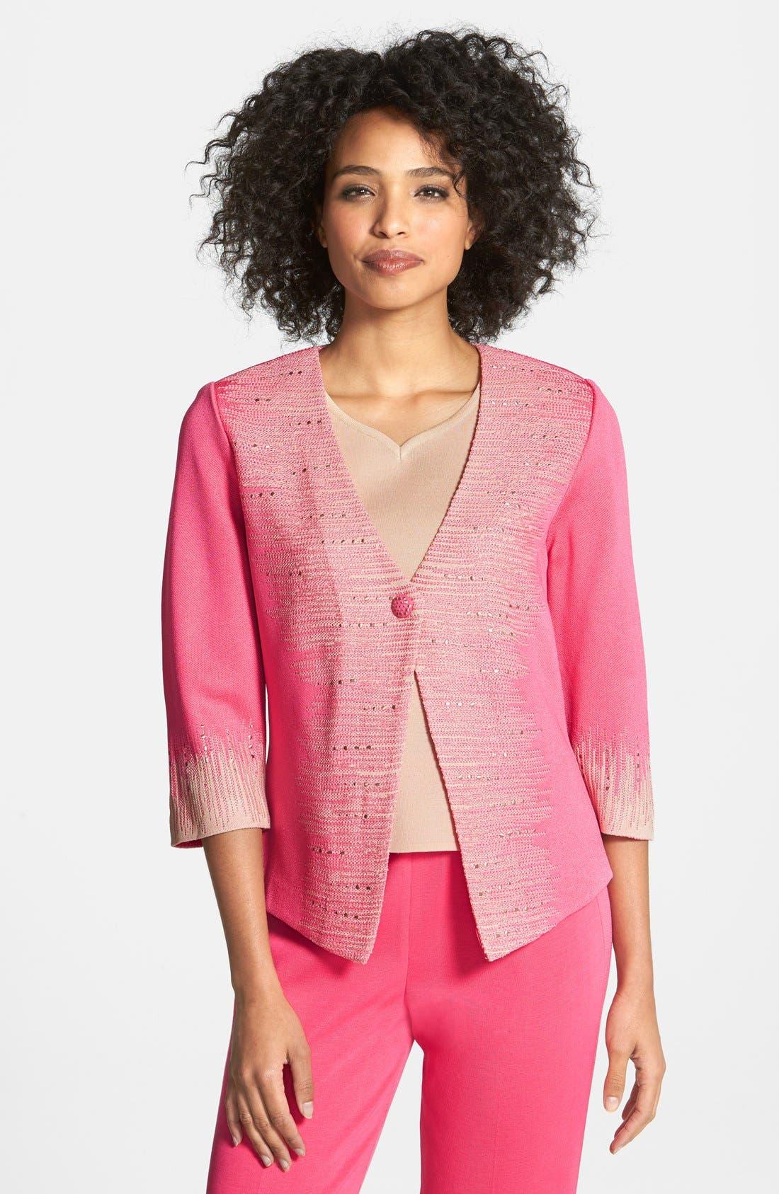 Alternate Image 1 Selected - Ming Wang Embellished Variegated Stripe Knit Jacket