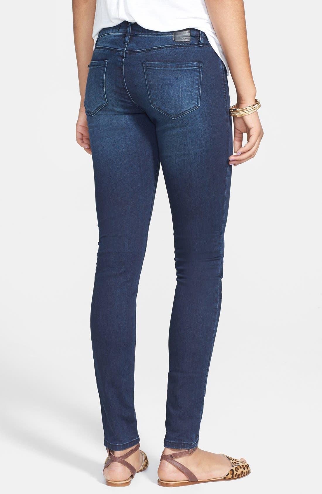 Alternate Image 2  - THIS CITY Skinny Jeans (Dark) (Juniors)