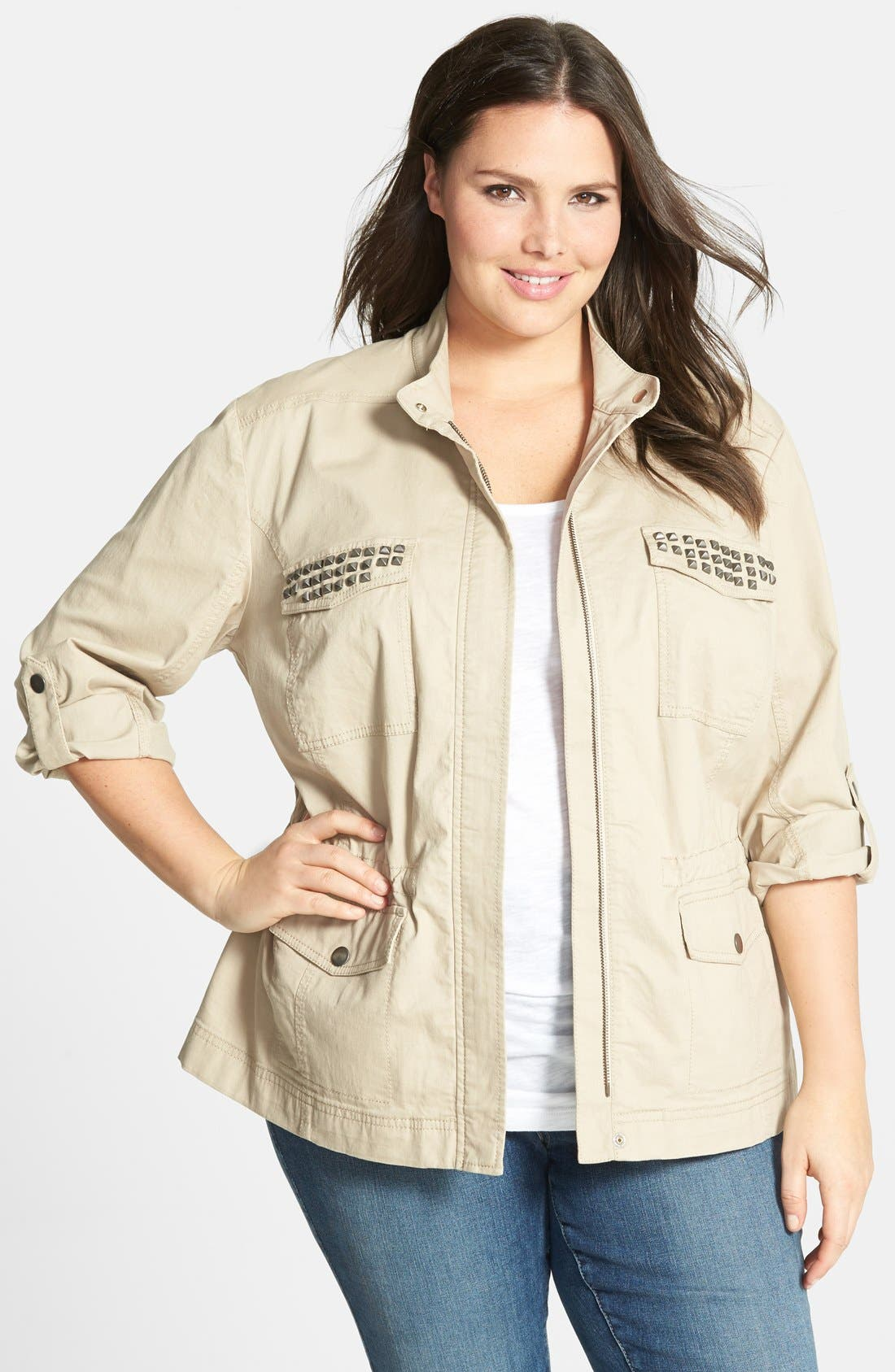 Alternate Image 1 Selected - Sejour 'Megan' Studded Roll Sleeve Jacket (Plus Size)