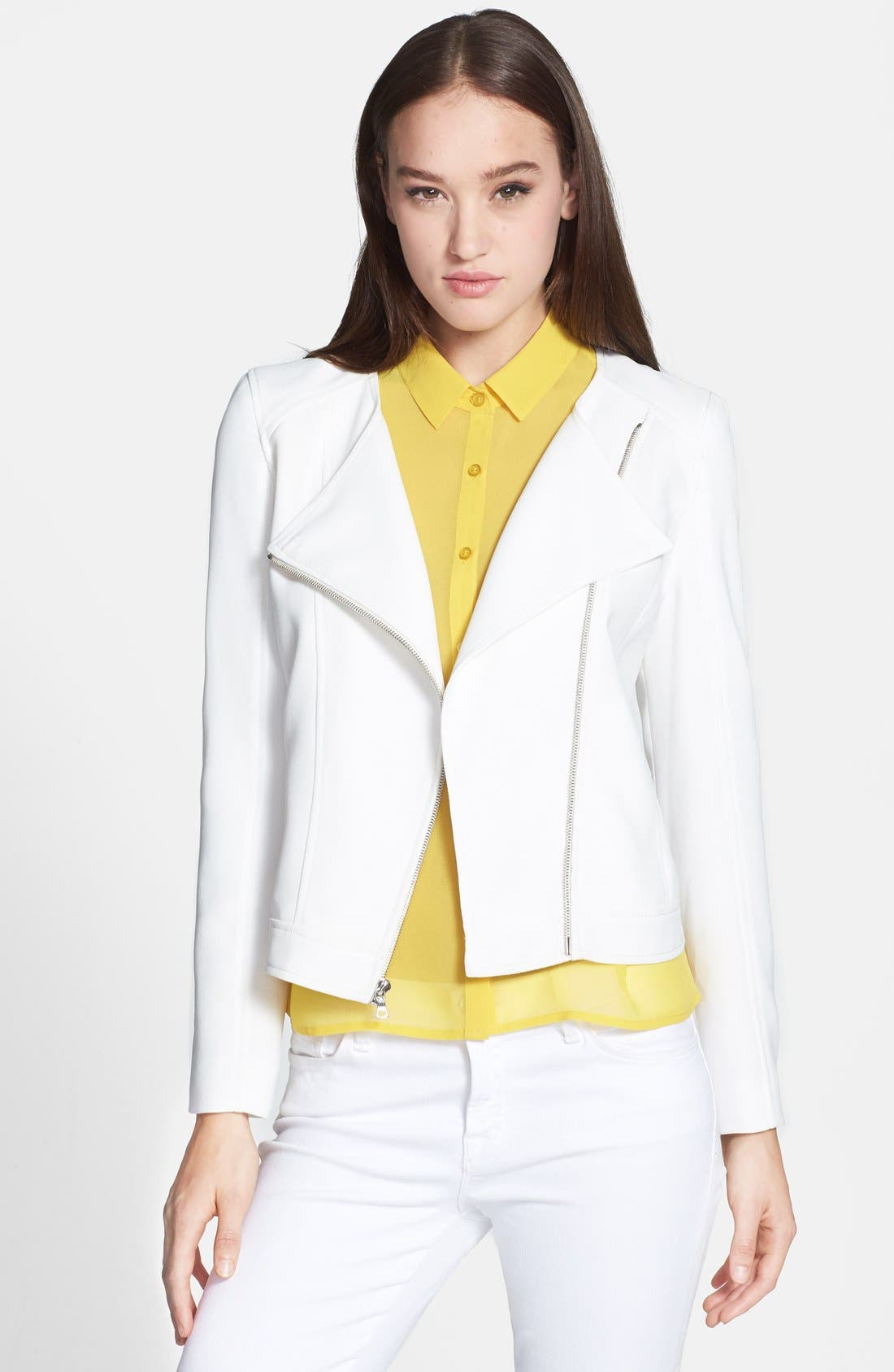 Alternate Image 1 Selected - 1.STATE Crepe Collarless Moto Jacket