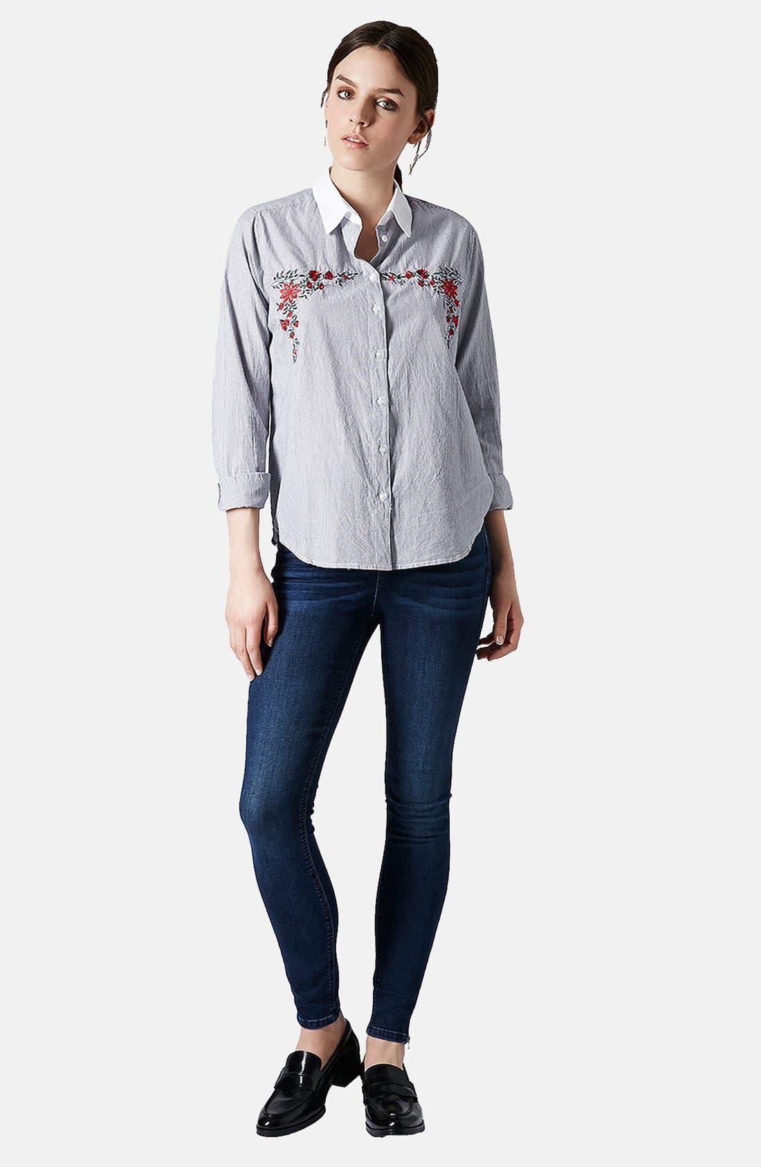 Alternate Image 5  - Topshop Moto 'Jamie' Zip Cuff High Waist Skinny Jeans (Dark)