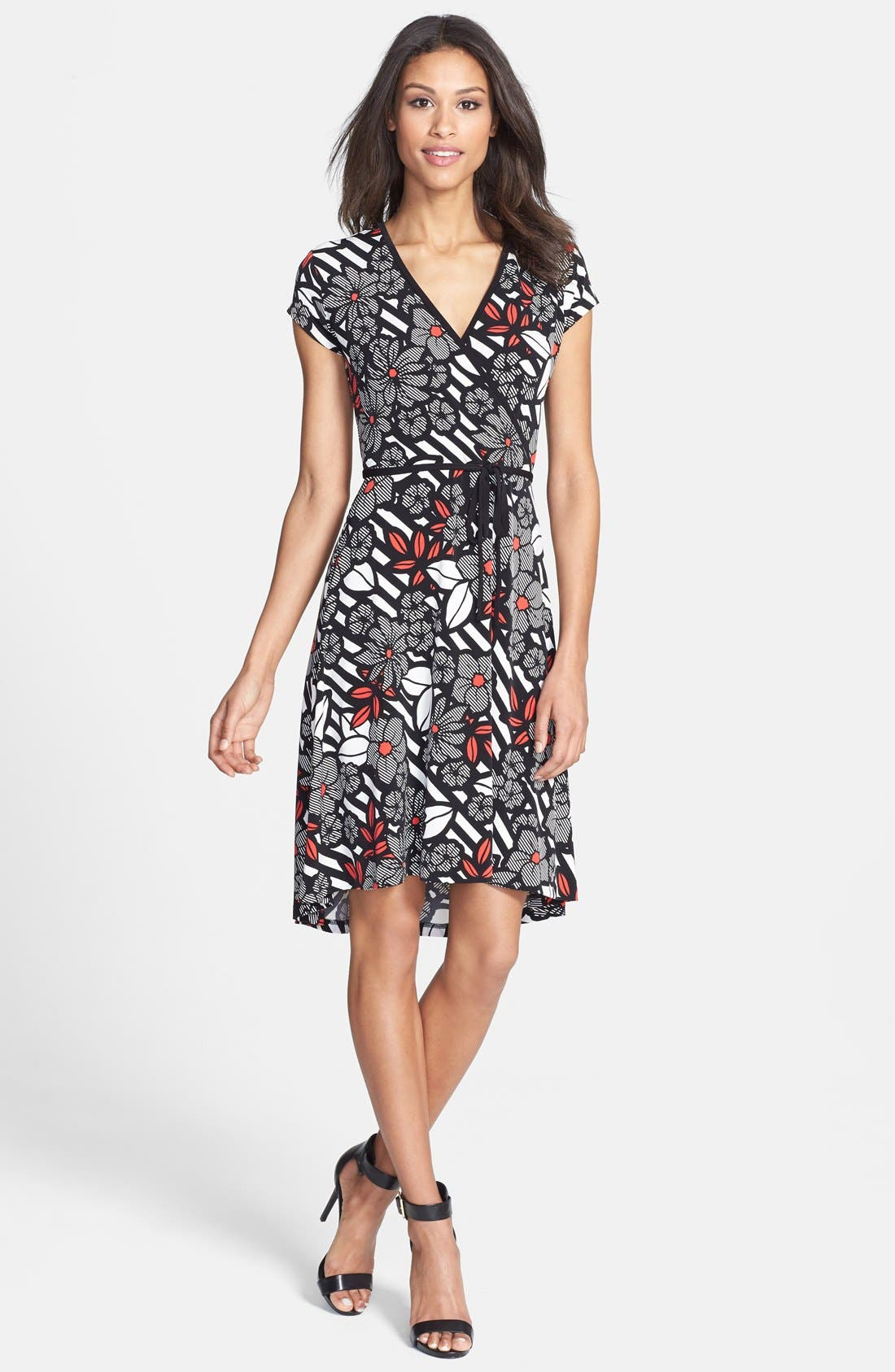 Main Image - Anne Klein Print Cap Sleeve Wrap Dress