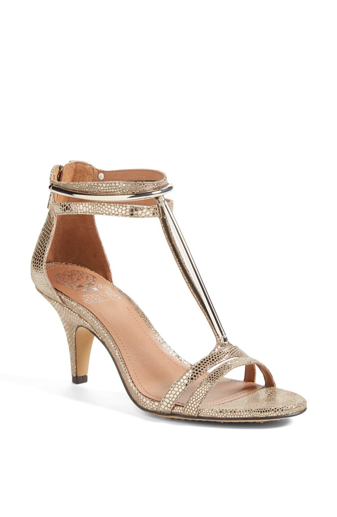 Alternate Image 1 Selected - Vince Camuto 'Mitzy' Metallic T-Strap Sandal (Women)
