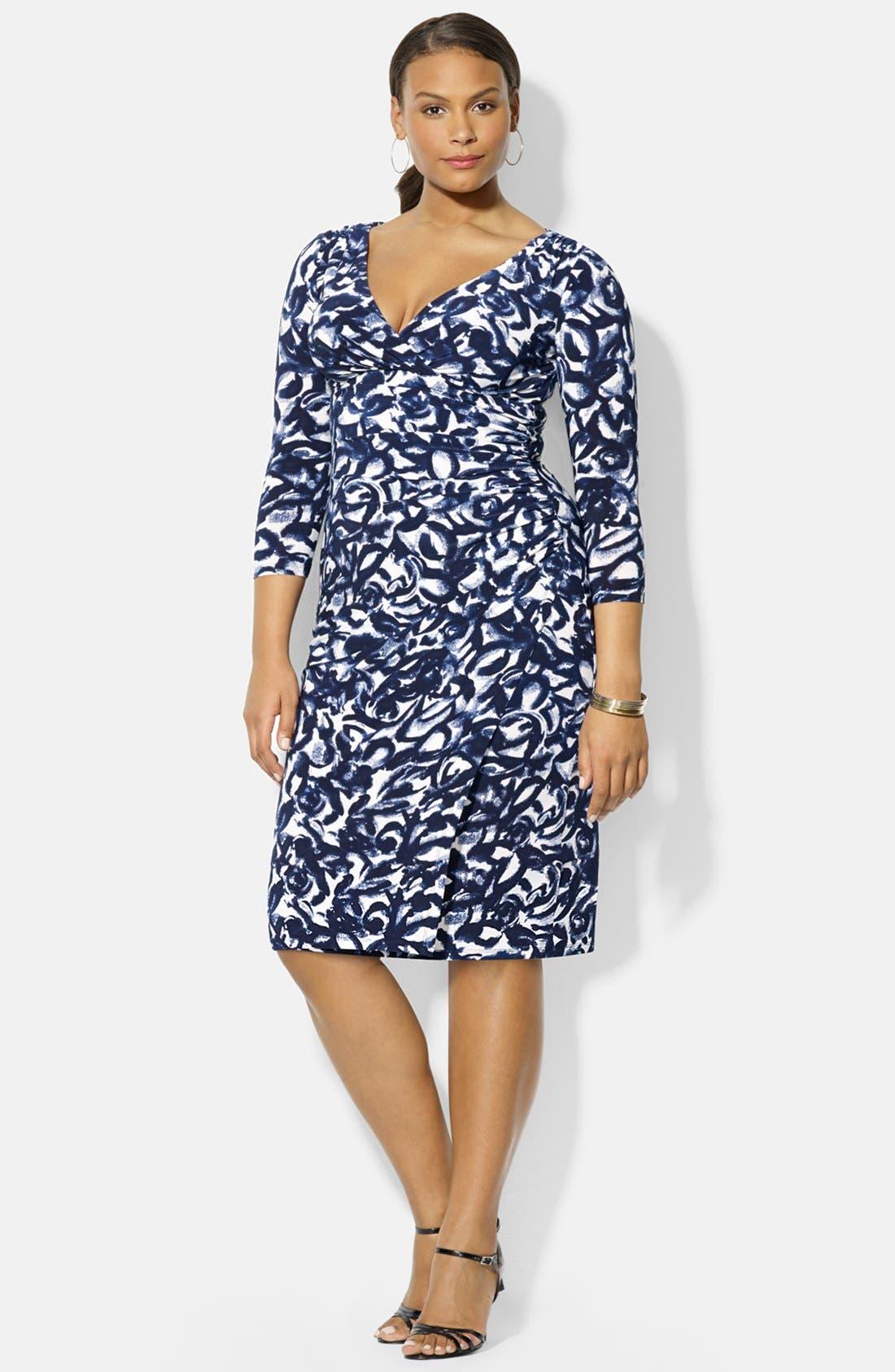 Main Image - Lauren Ralph Lauren Print Jersey Surplice Dress (Plus Size)