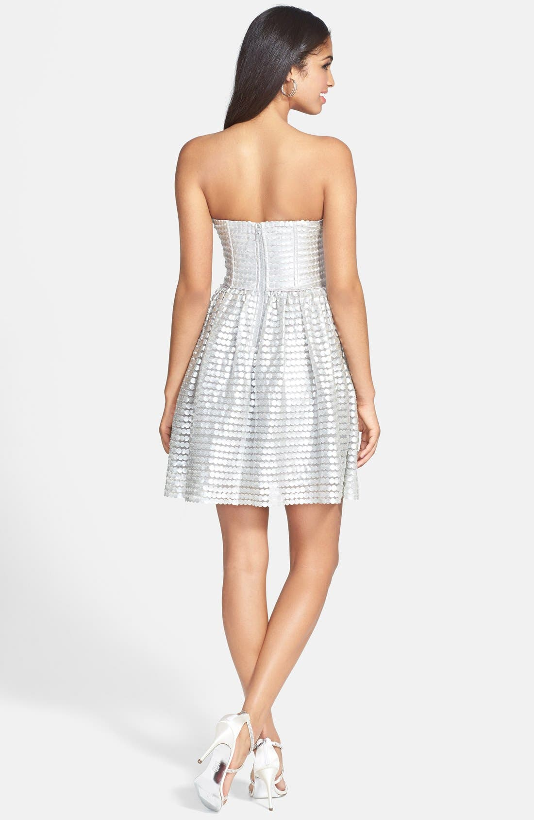 Alternate Image 2  - a. drea Metallic Textured Strapless Fit & Flare Dress (Juniors)