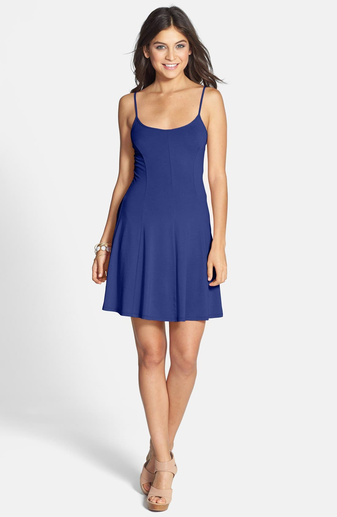 Soprano Spaghetti Strap Knit Skater Dress Juniors Nordstrom