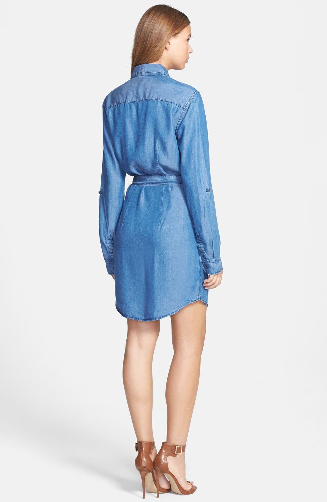Alternate Image 2  - Velvet Heart Roll Sleeve Chambray Shirtdress
