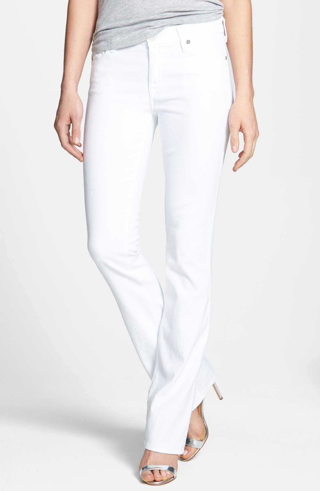 Main Image - 7 For All Mankind® Slim Bootcut Jeans (Clean White)