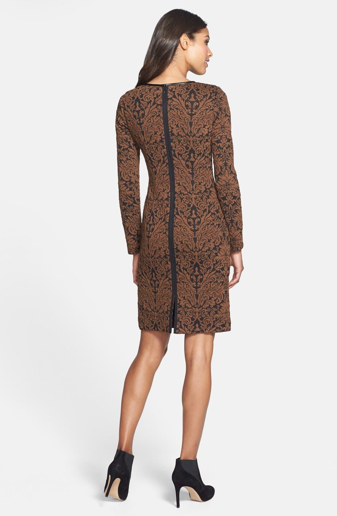 Alternate Image 2  - Vince Camuto Long Sleeve Jacquard Sheath Dress (Regular & Petite)