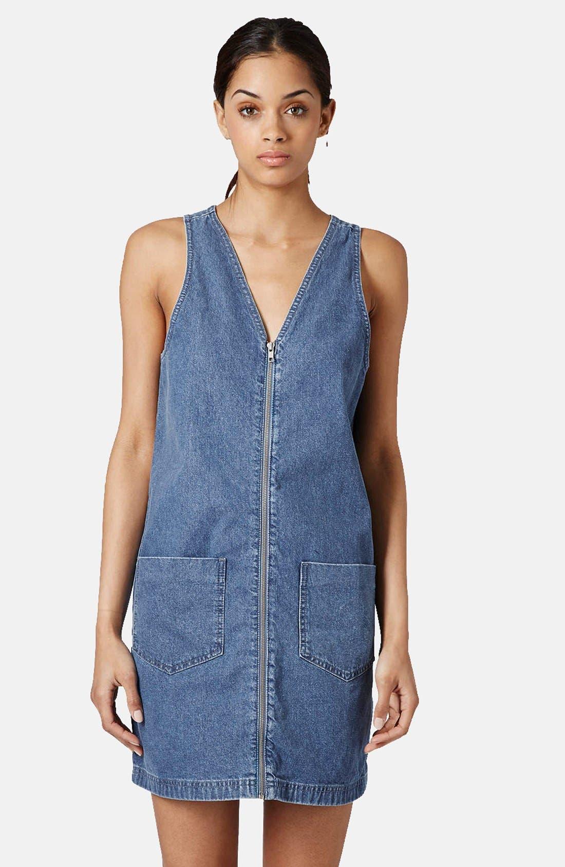 Main Image - Topshop Zip Front Denim Dress