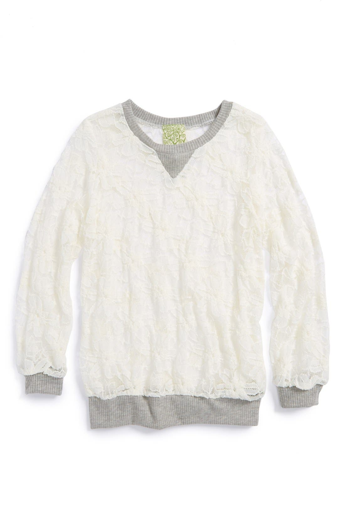 Alternate Image 1 Selected - Kiddo Sheer Floral Lace Sweatshirt (Big Girls)