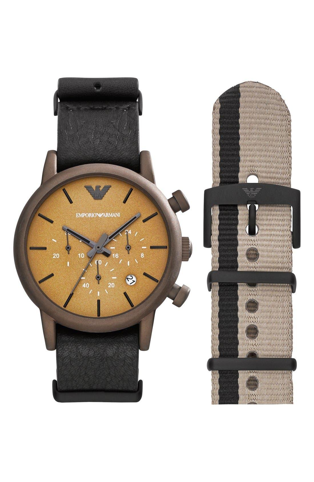 Main Image - Emporio Armani Chronograph Watch & Interchangeable Strap Set, 41mm