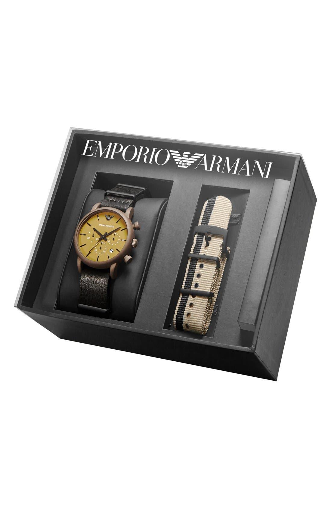 Alternate Image 4  - Emporio Armani Chronograph Watch & Interchangeable Strap Set, 41mm