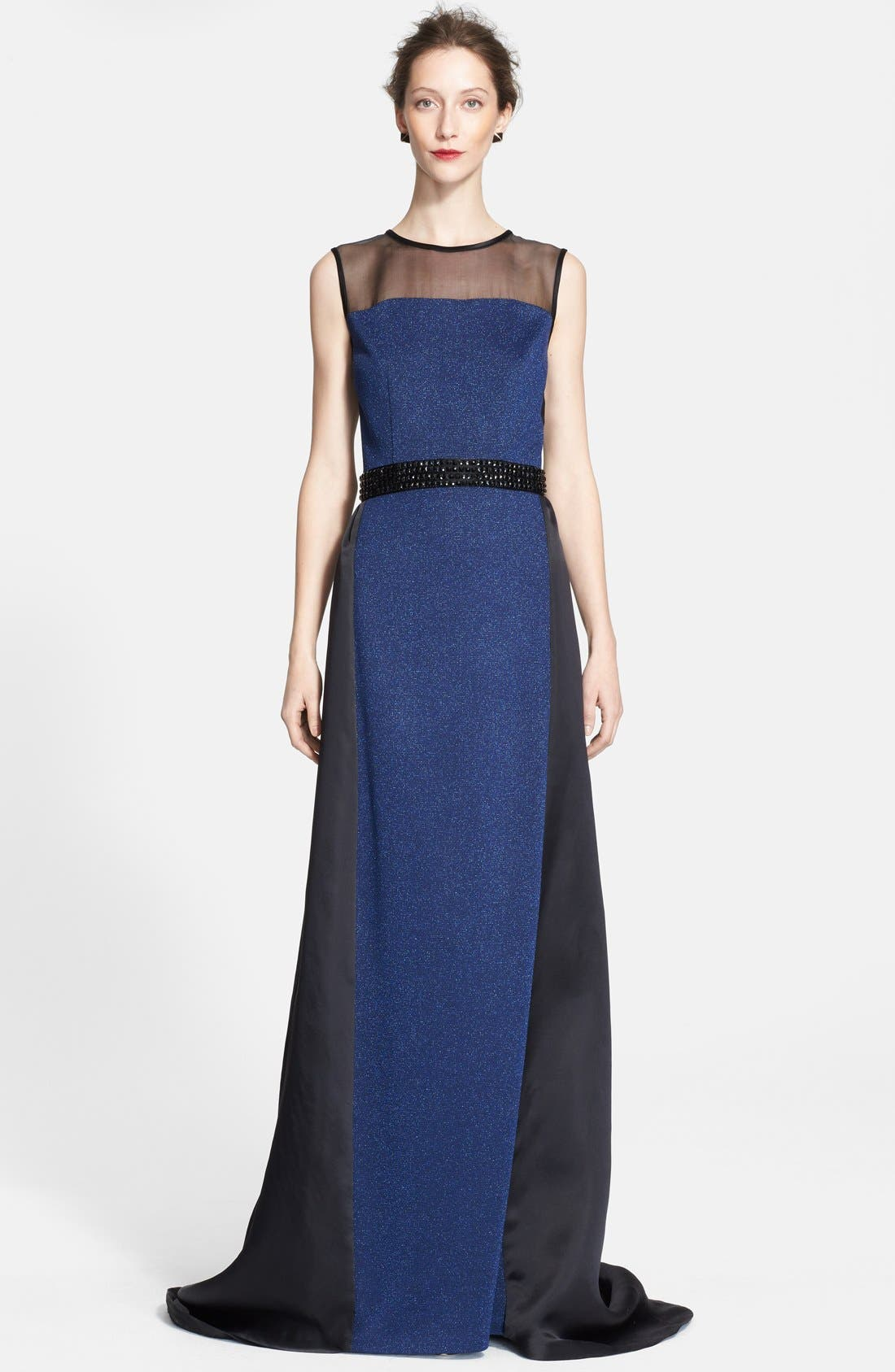 Main Image - St. John Collection Embellished Waist Shimmer Milano Knit Gown