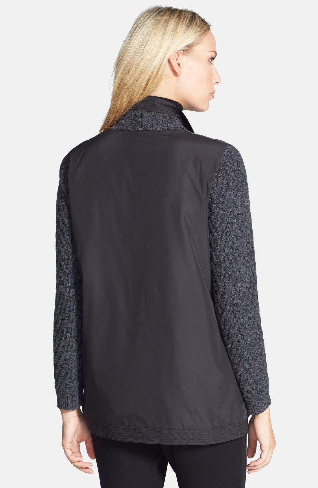 Alternate Image 2  - Lafayette 148 New York Woven Back Zigzag Merino Wool Cardigan (Regular & Petite)