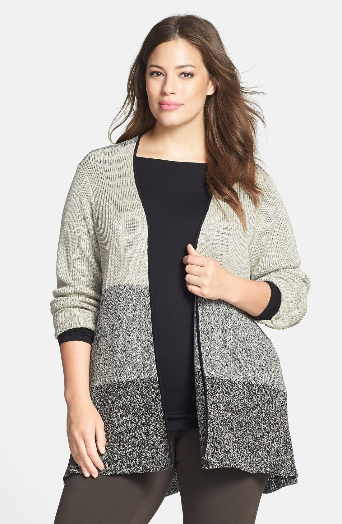 Alternate Image 1 Selected - Eileen Fisher Wool & Linen Cardigan (Plus Size)