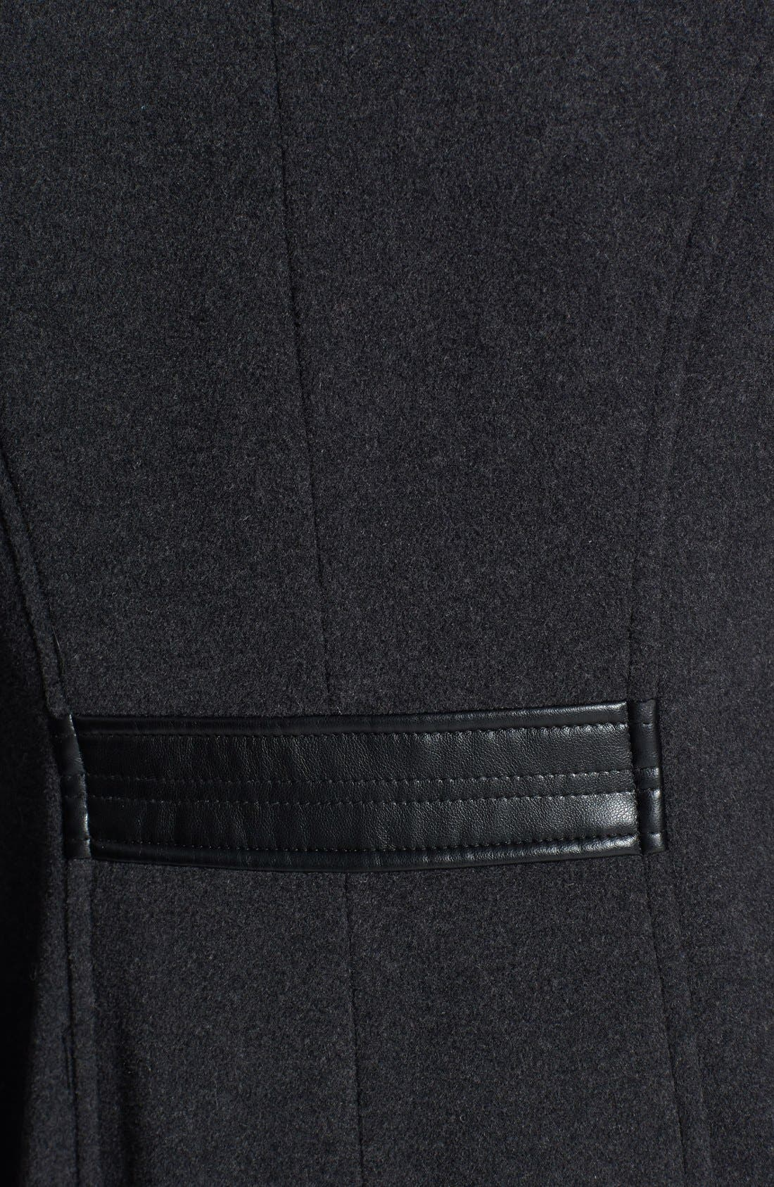 Alternate Image 3  - Cole Haan Faux Leather Trim Textured Wool Coat