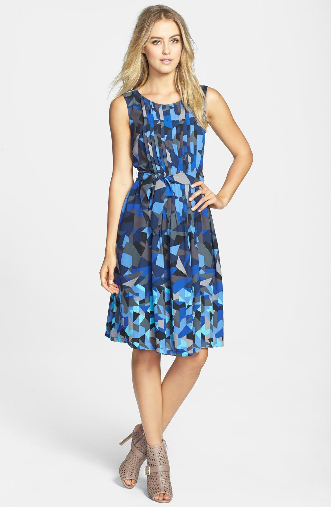 Alternate Image 1 Selected - Halogen® Pleated Fit & Flare Dress (Regular & Petite)