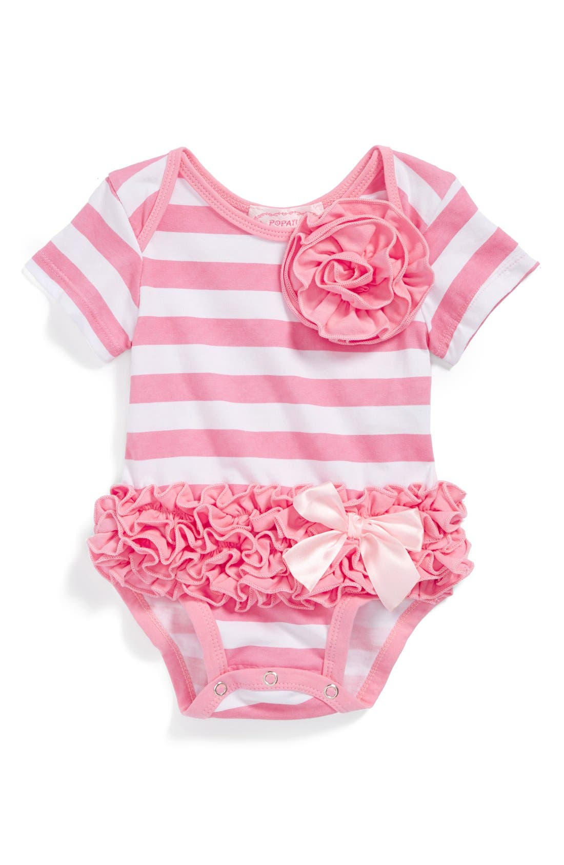 Alternate Image 1 Selected - Popatu Stripe Bodysuit (Baby Girls)