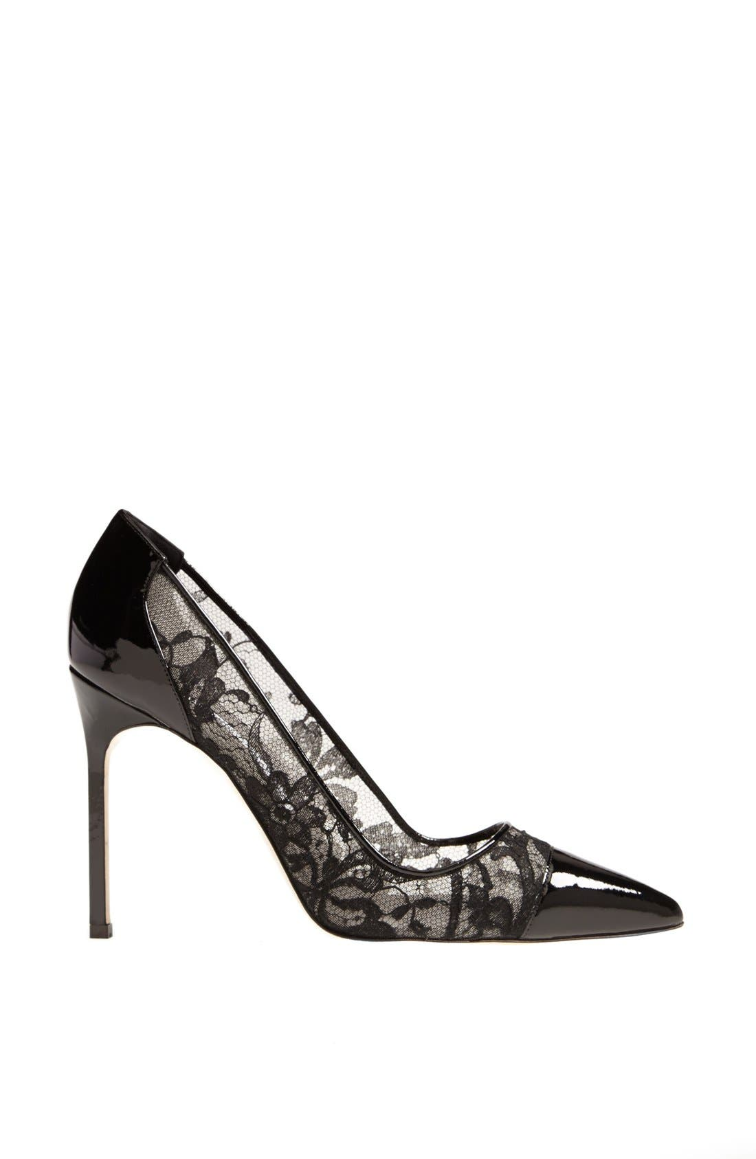 Alternate Image 4  - Manolo Blahnik 'Pacha' Lace & Patent Pointy Toe Pump