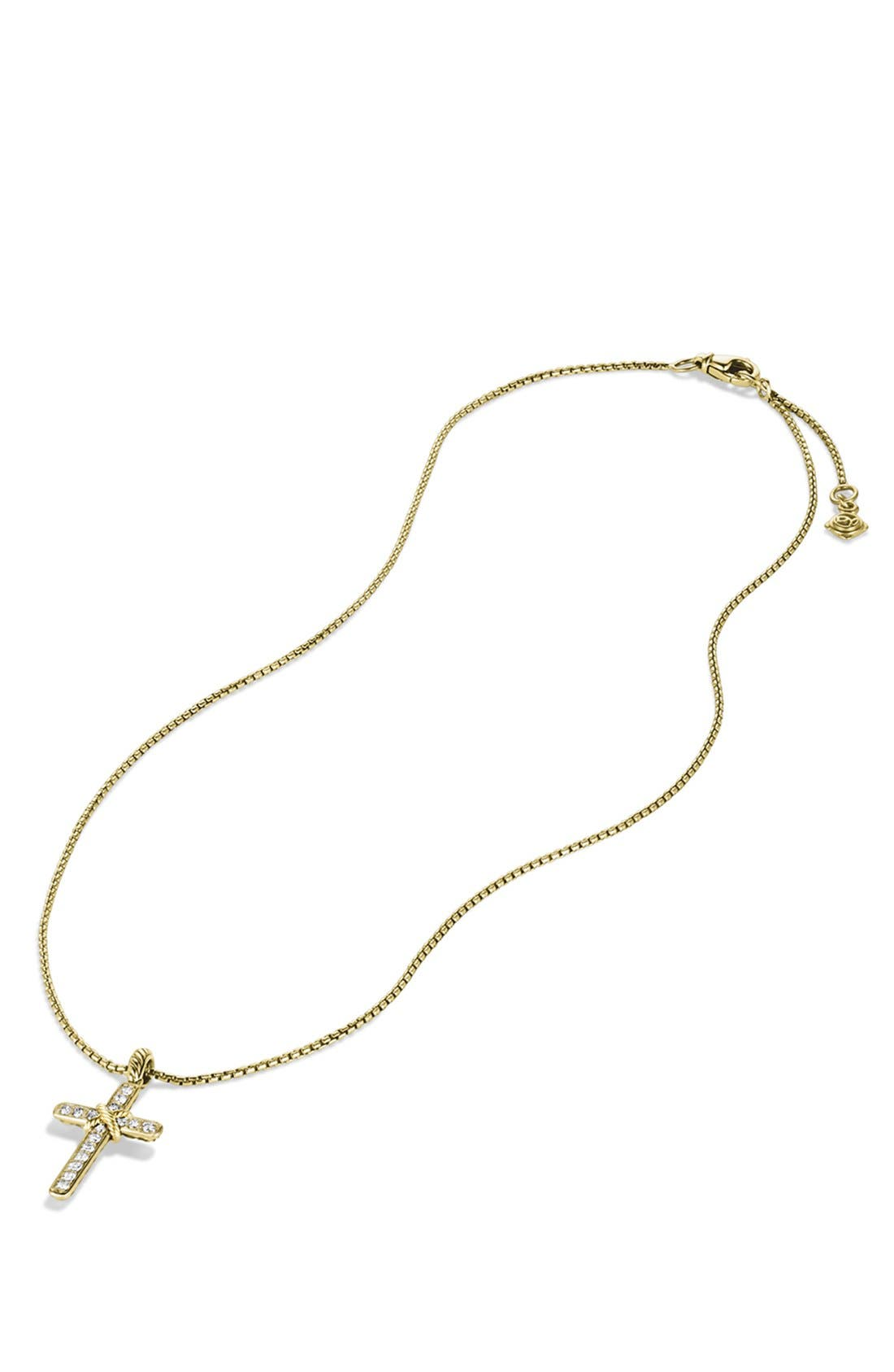 Alternate Image 3  - David Yurman 'Cable Collectibles - X' Cross with Diamonds in Gold on Chain