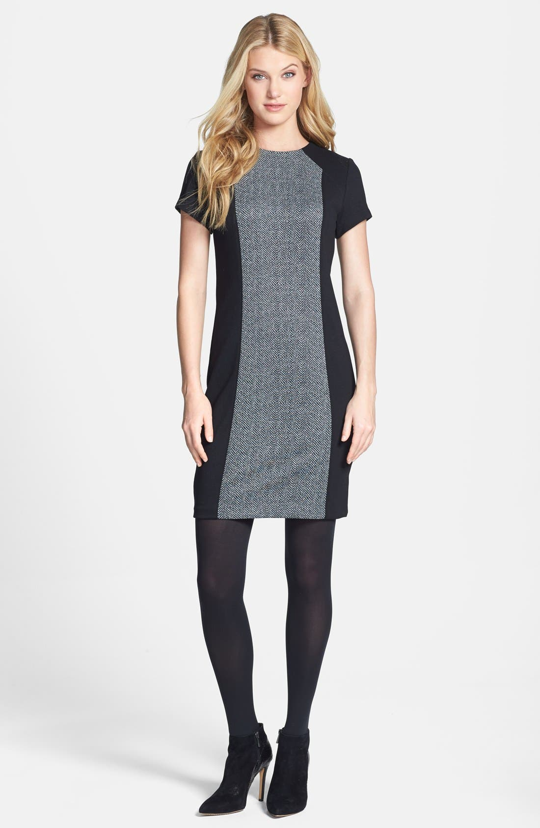 Alternate Image 4  - MICHAEL Michael Kors Colorblock Herringbone Print Dress