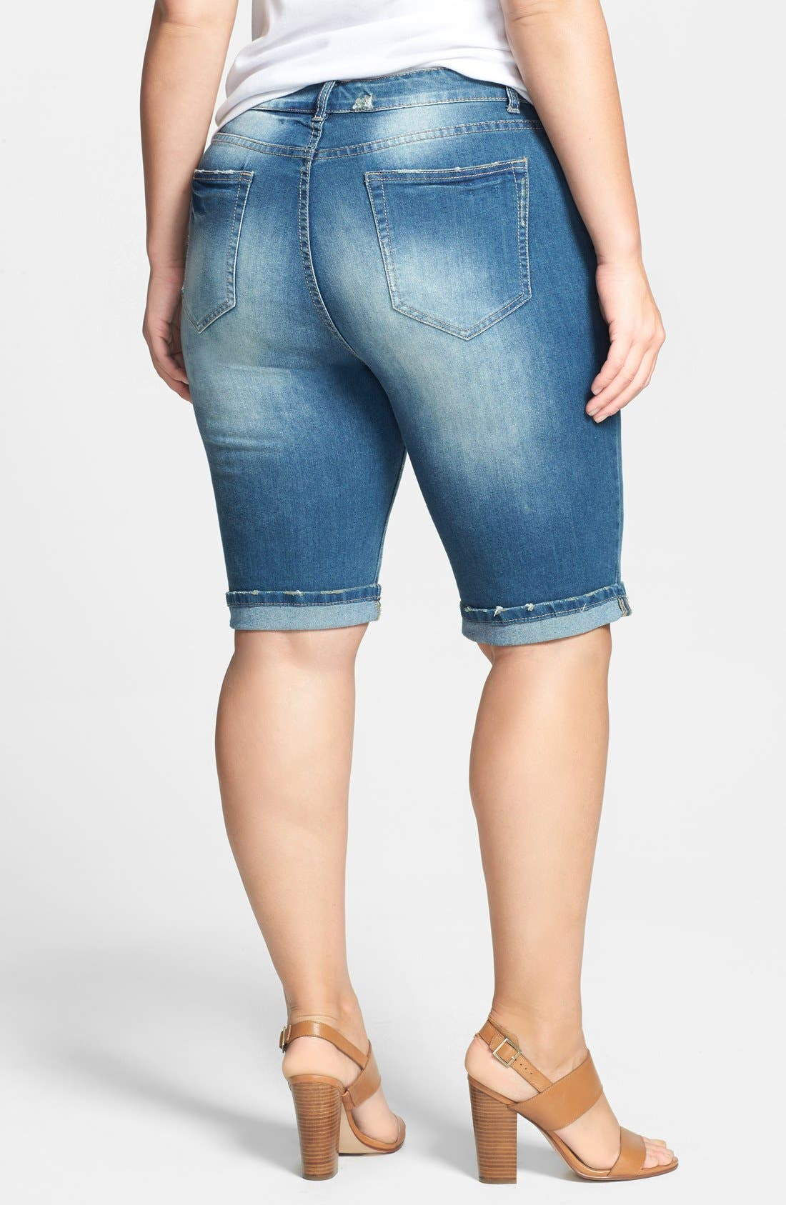 Alternate Image 2  - City Chic Roll Cuff Distressed Denim Bermuda Shorts (Plus Size)