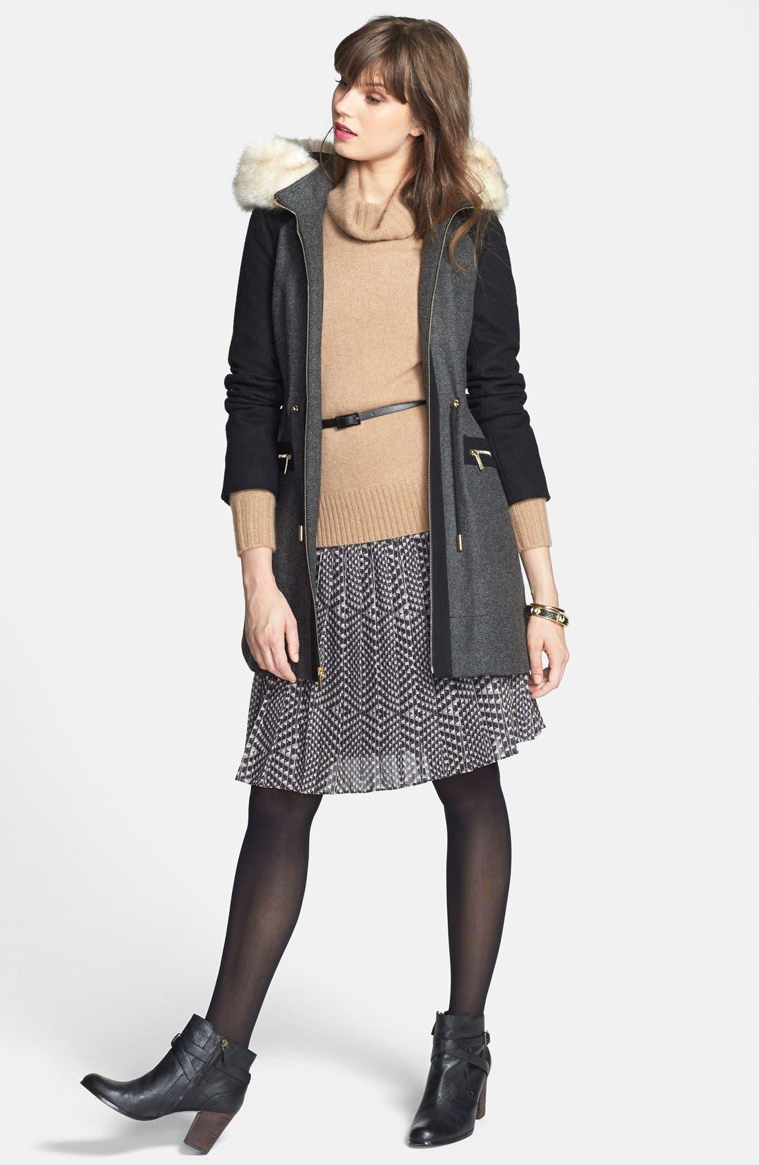 Alternate Image 5  - Laundry by Shelli Segal Faux Fur Trim Colorblock Tweed Coat