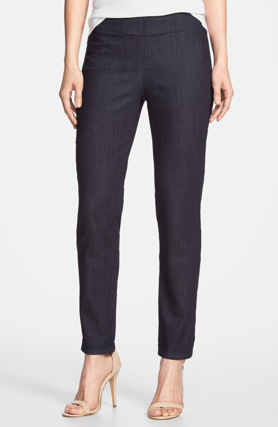 Alternate Image 1 Selected - NYDJ 'Millie' Pull-On Stretch Fitted Ankle Jeans (Dark Enzyme) (Regular & Petite)