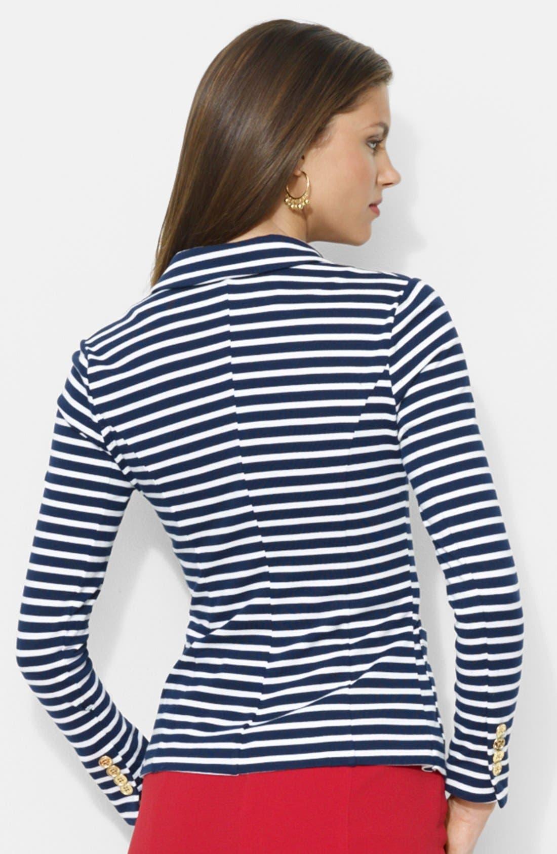 Alternate Image 2  - Lauren Ralph Lauren Stripe Cotton Knit Blazer (Regular & Petite)