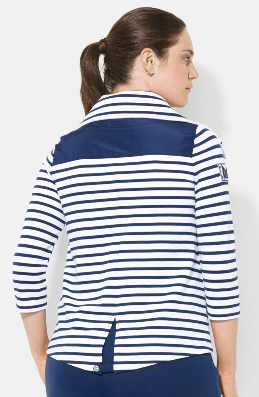 Alternate Image 2  - Lauren Ralph Lauren Stripe French Terry Jacket (Plus Size)