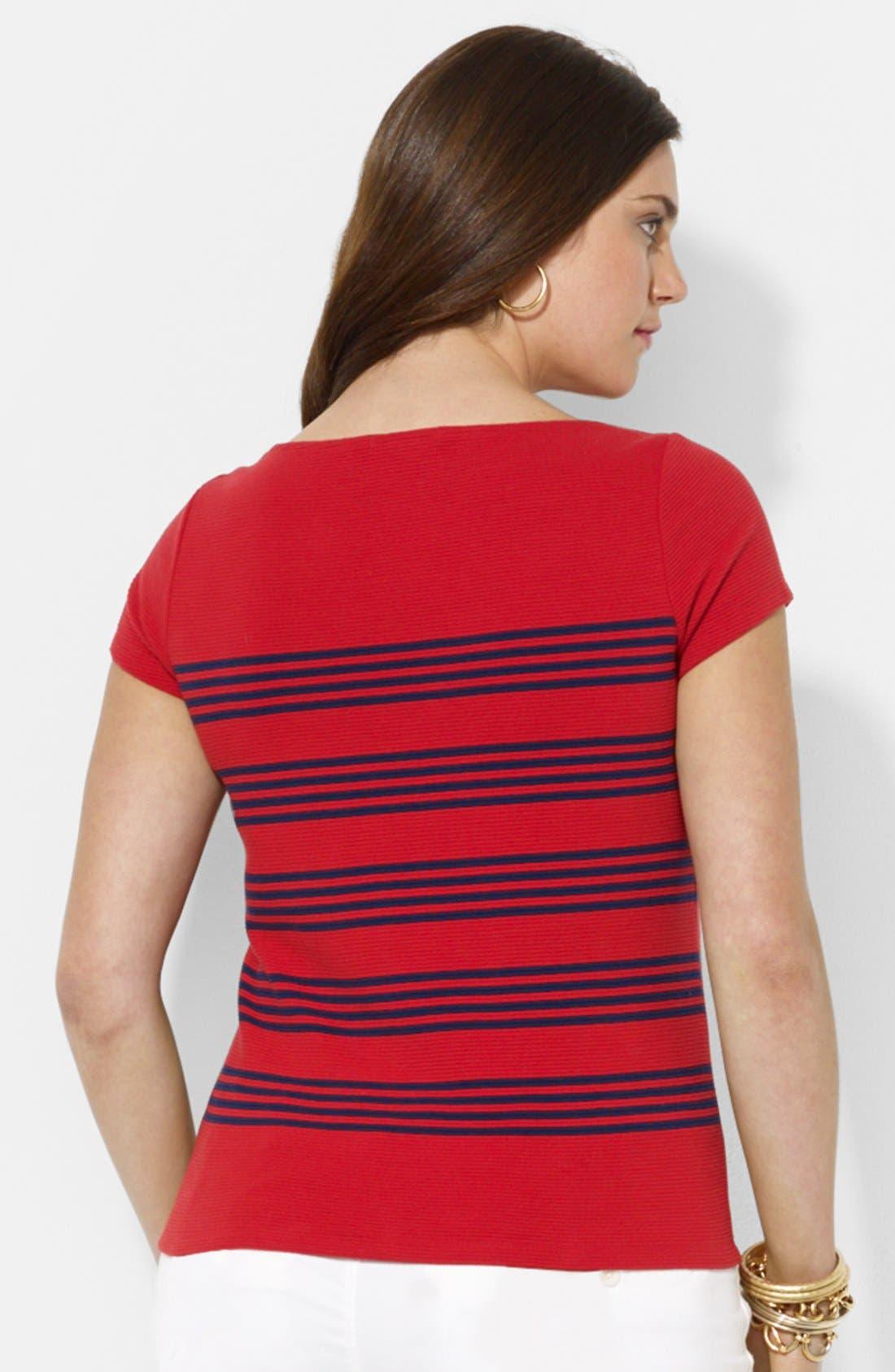 Alternate Image 2  - Lauren Ralph Lauren Stripe Ottoman Stitch Cotton Tee (Plus Size)