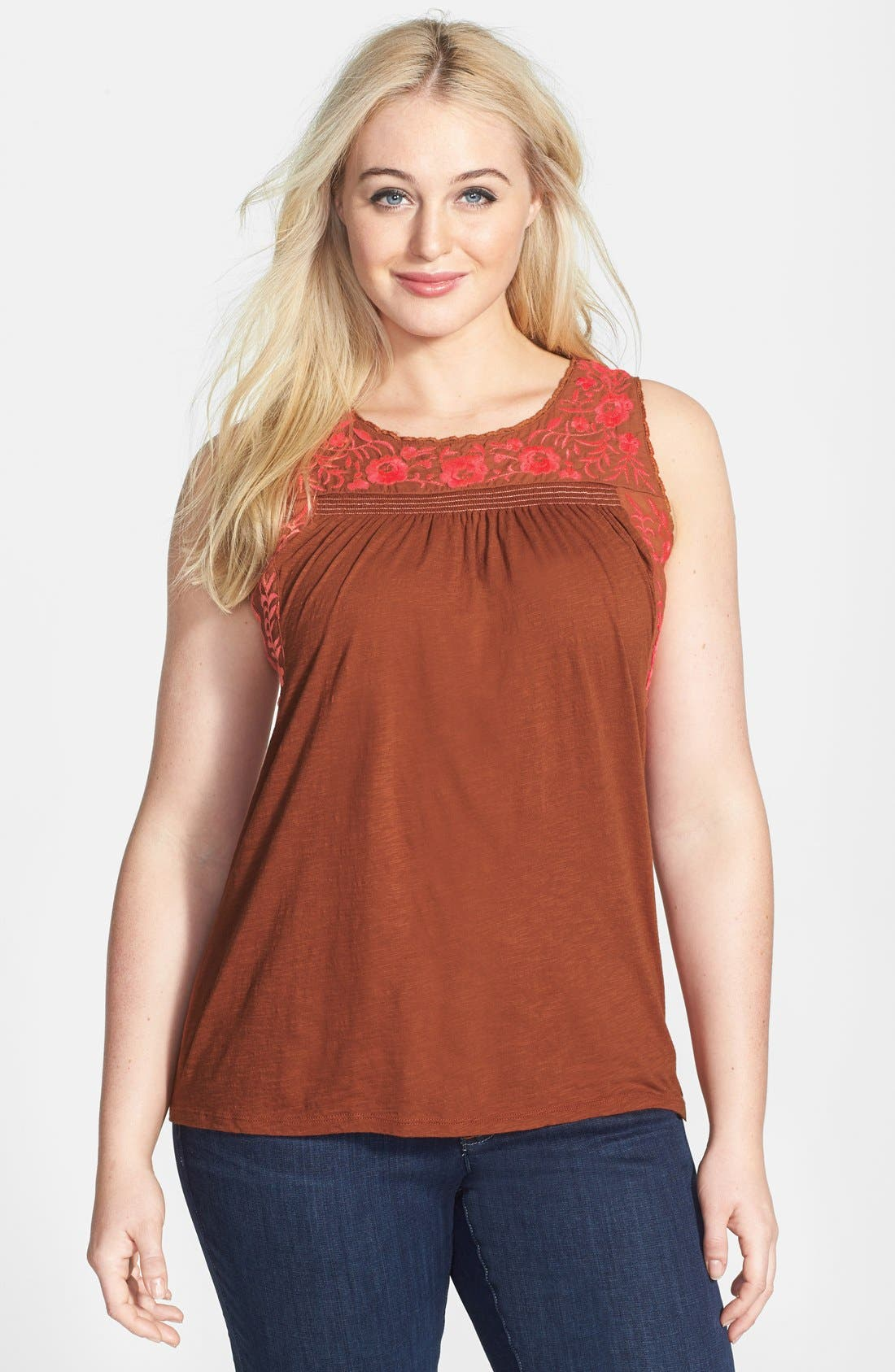 Main Image - Lucky Brand 'Rosalina' Embroidered Cotton Tank (Plus Size)