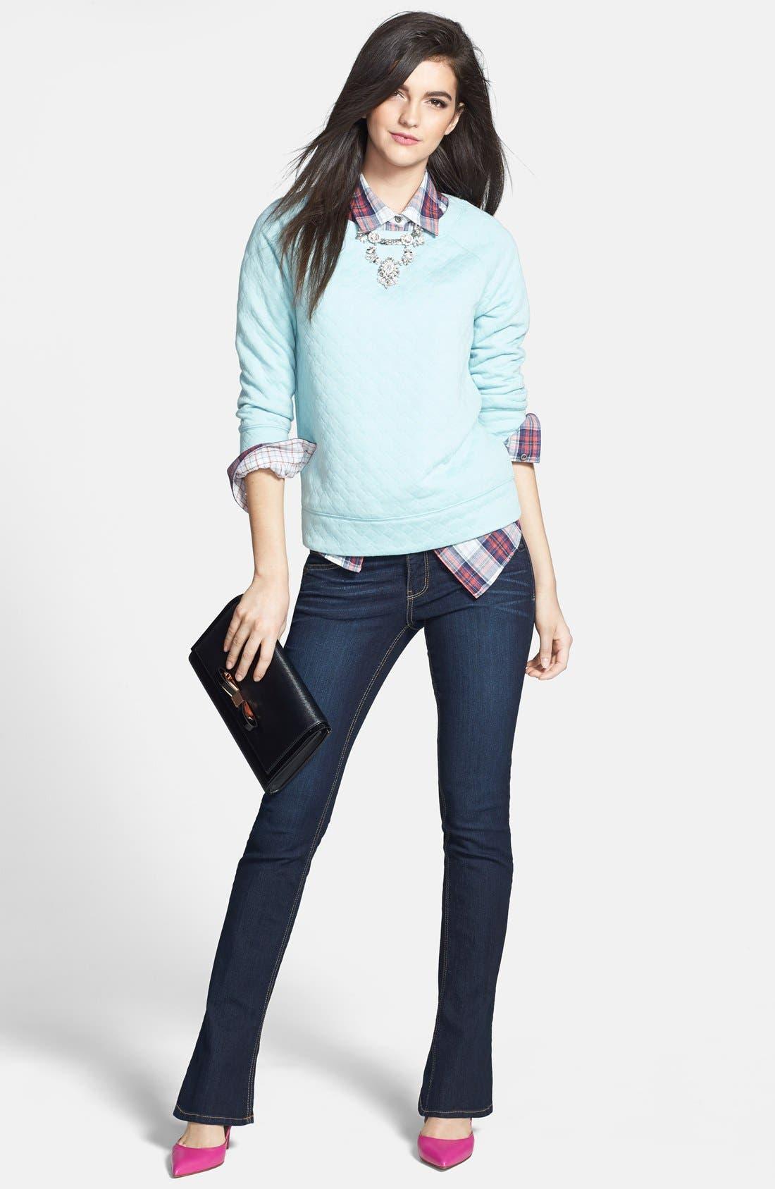 Alternate Image 5  - Halogen® Quilted Sweatshirt (Petite)