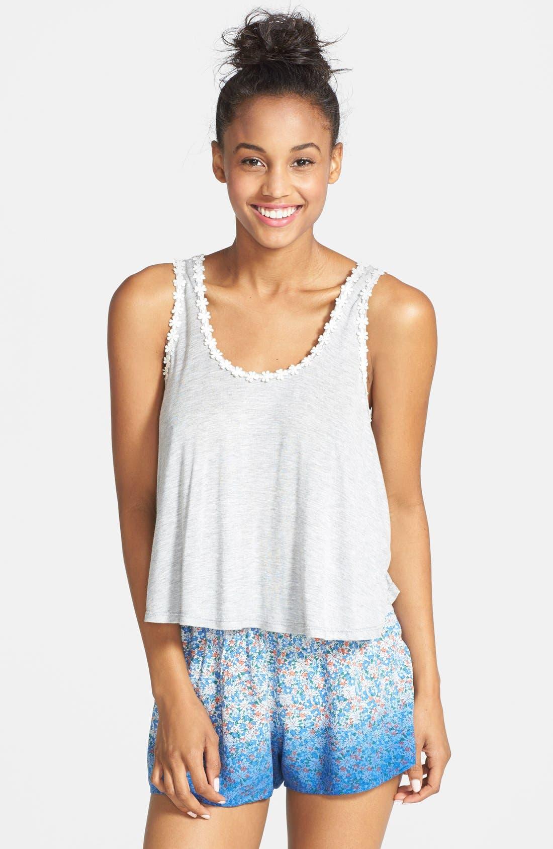 Main Image - Blu Pepper Floral Print Ombré Soft Shorts (Juniors)
