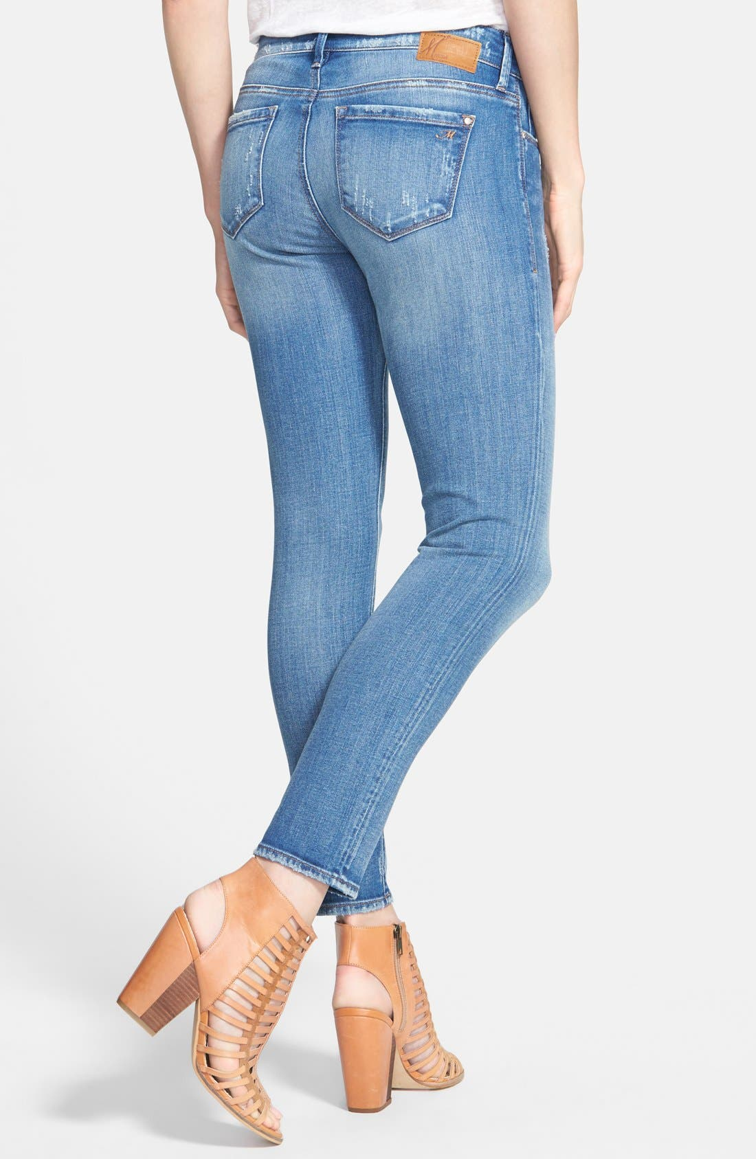 Alternate Image 2  - Mavi Jeans 'Alexa' Distressed Ankle Skinny Jeans (Blue)