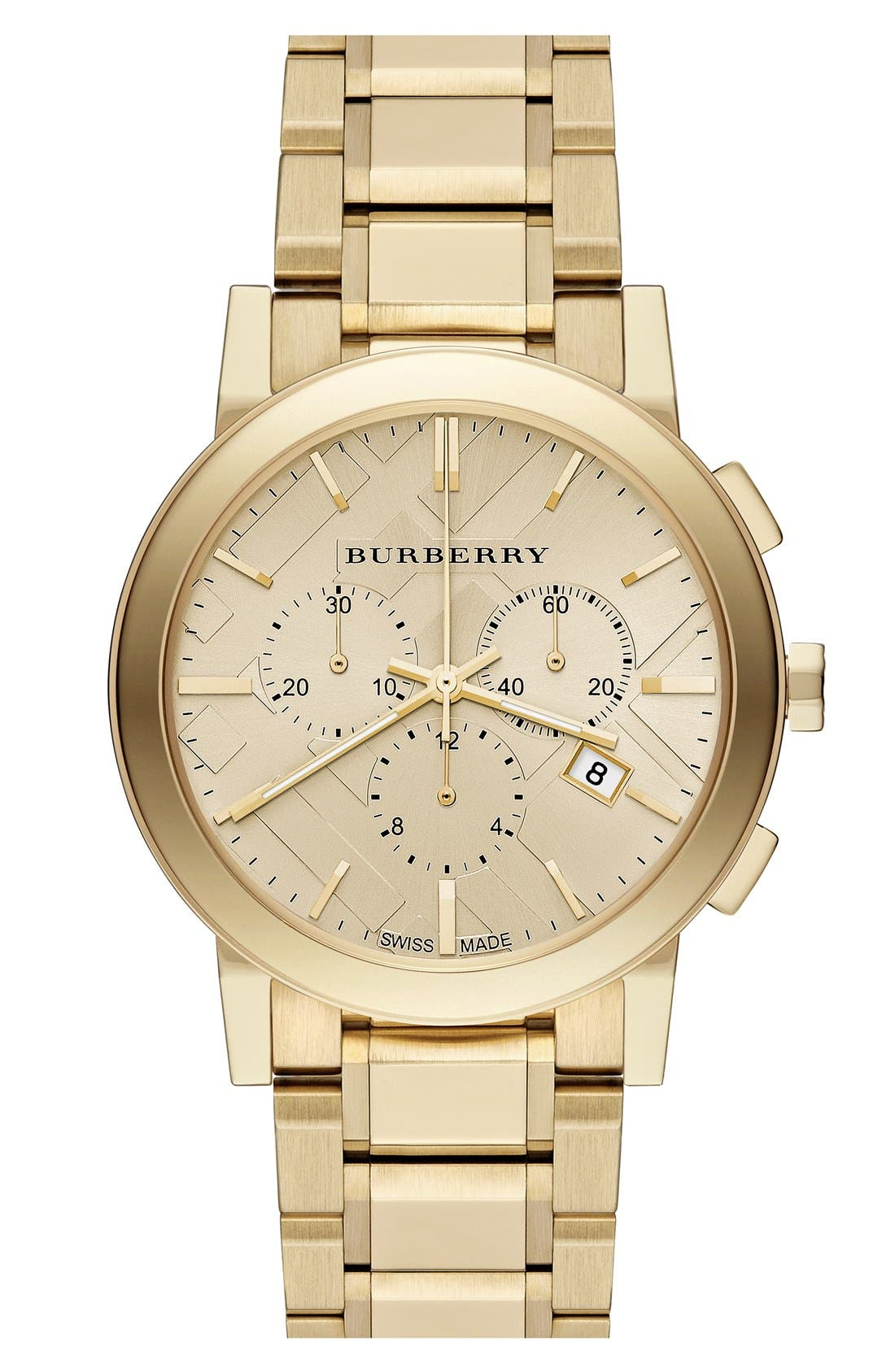 Alternate Image 1 Selected - Burberry Check Stamped Chronograph Bracelet Watch, 38mm