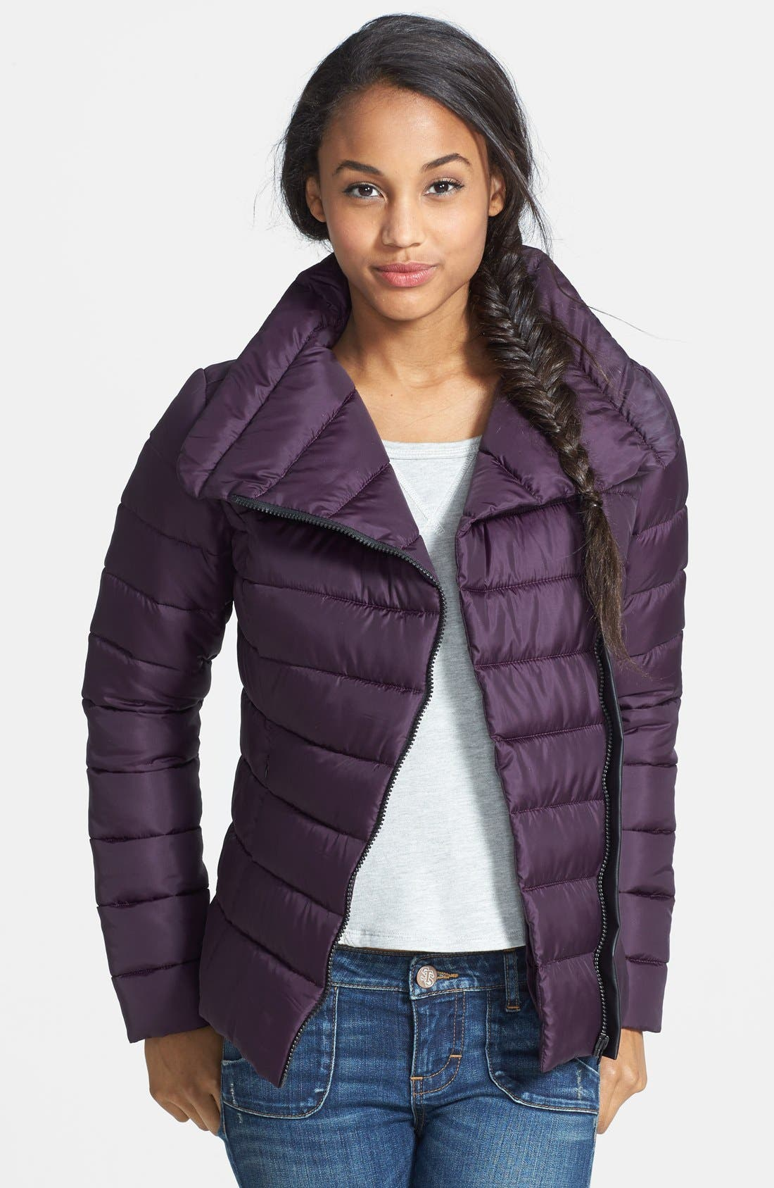 Main Image - Krush Faux Leather Trim Puffer Coat (Juniors) (Online Only)