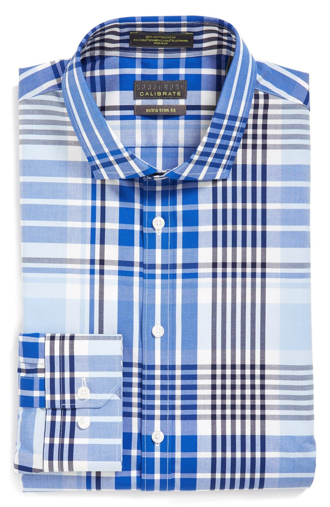 Main Image - Calibrate Extra Trim Fit Non-Iron Stretch Plaid Dress Shirt