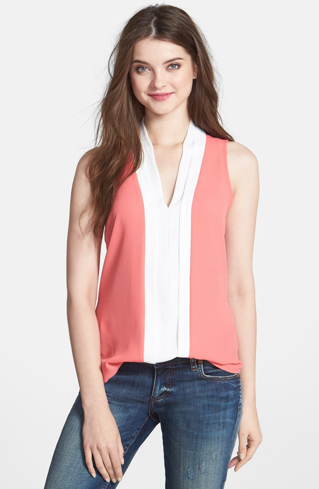 Alternate Image 1 Selected - Bellatrix Keyhole Back Colorblock Top (Regular & Petite)