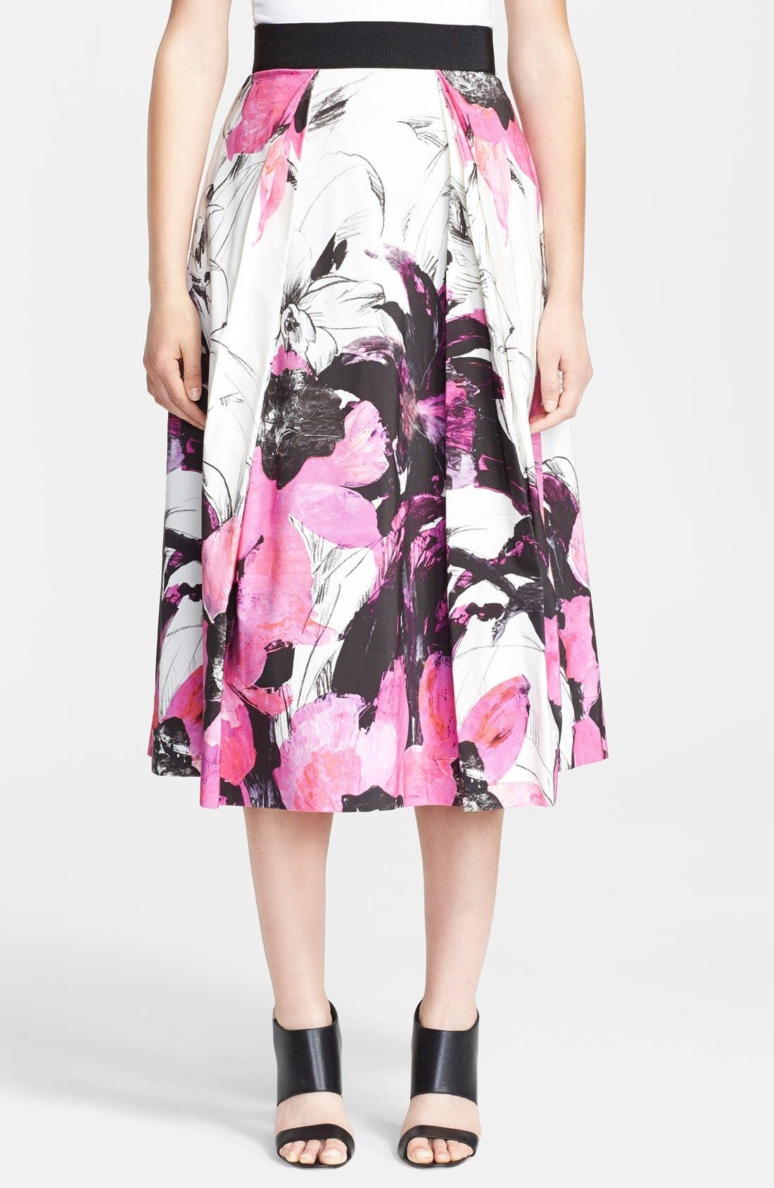 Main Image - Milly 'Winter Orchid' Print Midi Skirt