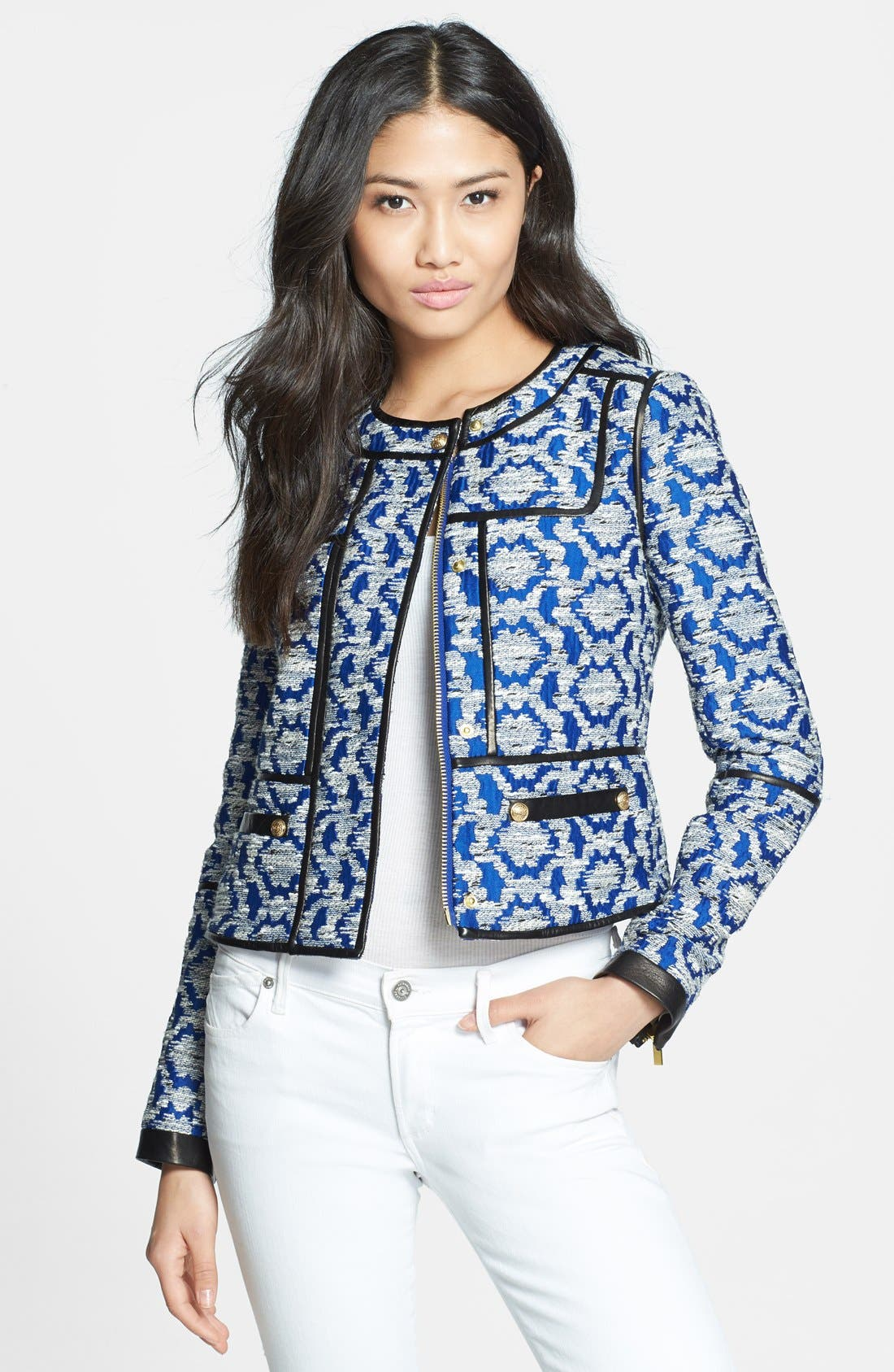 Alternate Image 1 Selected - Diane von Furstenberg 'Maelee' Crop Jacquard Jacket